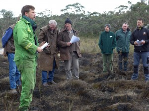 Mike Stevens explains the small patch winter burning experiment